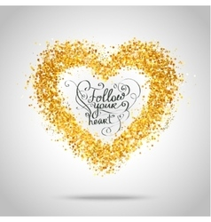 Golden frame in the shape of a heart vector image