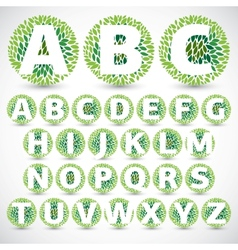 Green Leaves font vector image vector image
