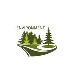 Green trees forest environment icon vector