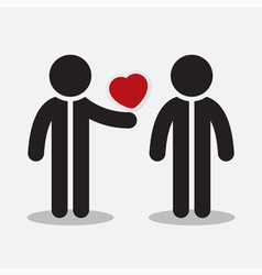 greeting card - two figures and heart vector image