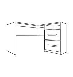 Grey desk with lockersdesk for paperwork vector