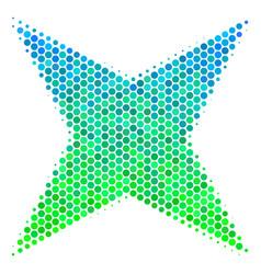 Halftone blue-green sparkle star icon vector