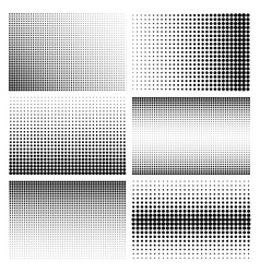 halftone design elements with black dots isolated vector image