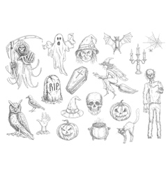 Halloween holiday creepy and horror sketch symbols vector
