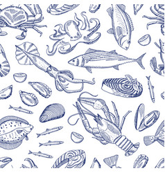 Hand drawn contoured seafood elements vector