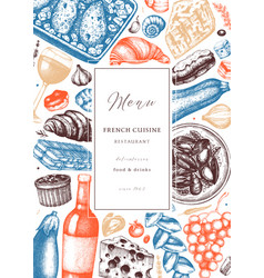 hand sketched french cuisine picnic flyer vector image