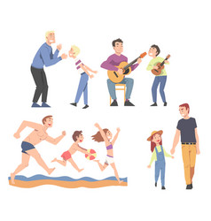 happy fathers spending time together vector image