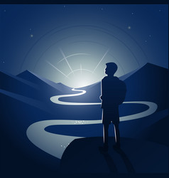 Hiker contemplating night landscape scene vector