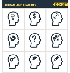 Icons set premium quality of human mind features vector image