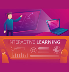 Interactive learning banner set cartoon style vector