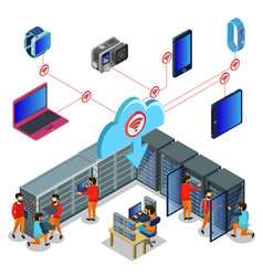 isometric datacenter concept vector image