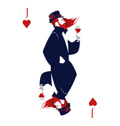 Jack of hearts with top hat flowers and thorns vector