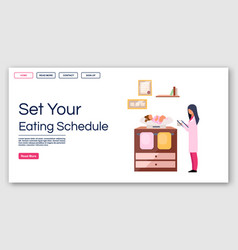 Kids eating schedule landing page template vector
