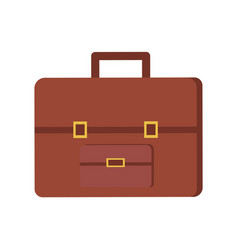 leather briefcase brown case isolated icon vector image