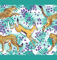 Leopard cheetah and palm leaves tropical seamless vector
