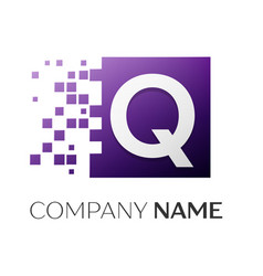 Letter q logo symbol in the colorful square with vector