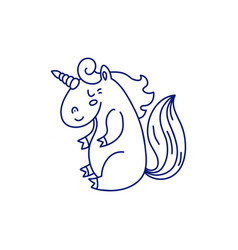 linear template of adorable unicorn vector image