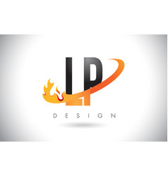 lp l p letter logo with fire flames design and vector image