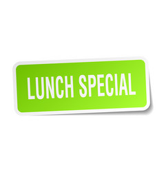 Lunch special square sticker on white vector
