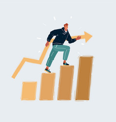 man climbs a ladder to vector image