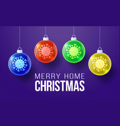 merry home christmas concept glossy xmas balls vector image