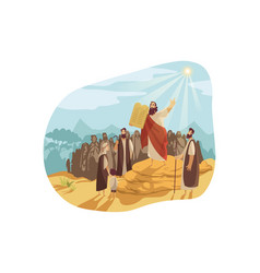 Moses with gods tablets bible concept vector
