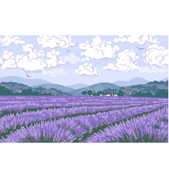 Nature scene with lavender field mountains vector
