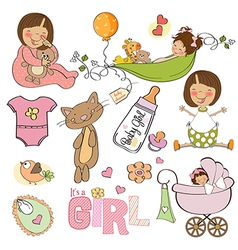 New baby girl elements set isolated on white vector
