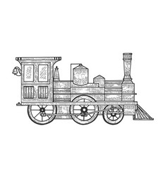 old steam locomotive transport sketch engraving vector image