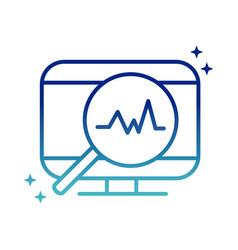 Online health computer magnifier pulse cardiology vector