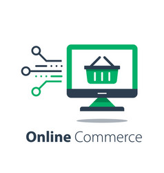 Online shopping internet purchase grocery basket vector