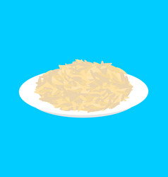 parboiled rice cereal in plate isolated healthy vector image