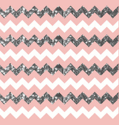 Pinkish white zigzag pattern with sparkly silver vector