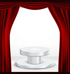 podium under red theater curtain ceremony vector image