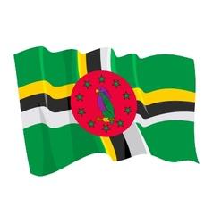 Political waving flag dominica vector