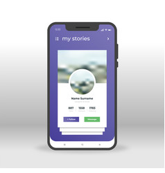 purple social network stories ui ux gui screen vector image