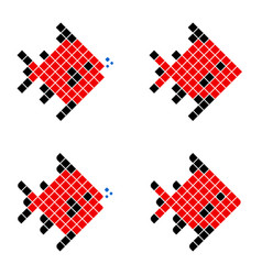 red pixel fish geometric fish vector image