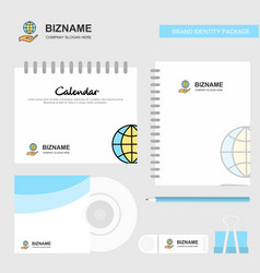 Safe world logo calendar template cd cover diary vector