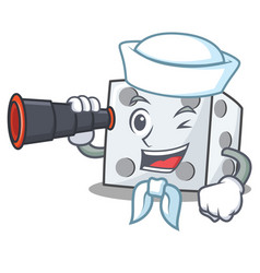 sailor with binocular dice character cartoon style vector image