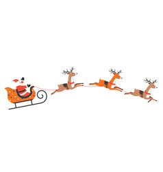 santa claus riding sleigh with xmas reindeers vector image