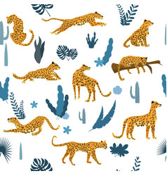 seamless pattern with leopards in different poses vector image