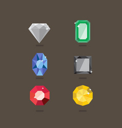 set jewel in flat style vector image