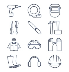 Set line icons for diy tools and work clothes vector