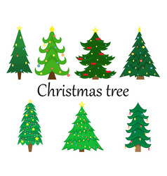 set of 7 christmas trees with decoration vector image