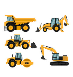 Set of heavy construction and mining machinery vector