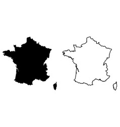 simple only sharp corners map france drawing vector image