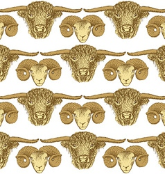 Sketch bull and ram head in vintage style vector image