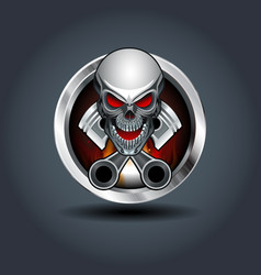 skull and two pistons steely rounded badge icon vector image