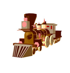 steam train low poly vector image