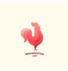 Stylized Red Rooster Sign Emblem or Logo Template vector image